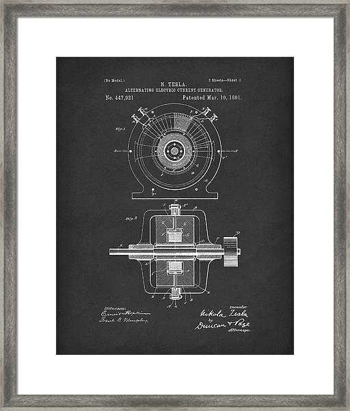 Tesla Generator 1891 Patent Art  Black Framed Print