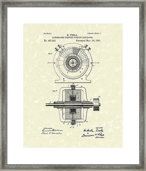 Tesla Generator 1891 Patent Art Framed Print