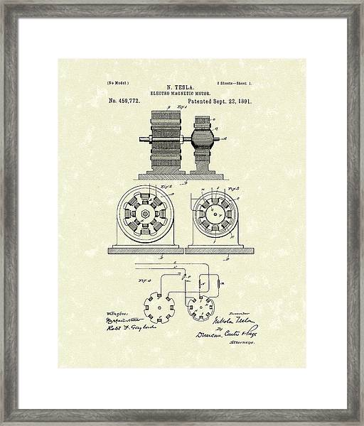 Tesla Motor 1891 Patent Art Framed Print