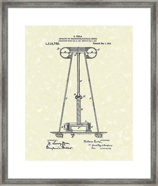 Tesla Transmitter 1914 Patent Art Framed Print