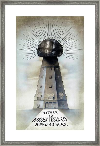 Tesla's Wardenclyffe Tower Laboratory Framed Print by Nikola Tesla Museum/science Photo Library