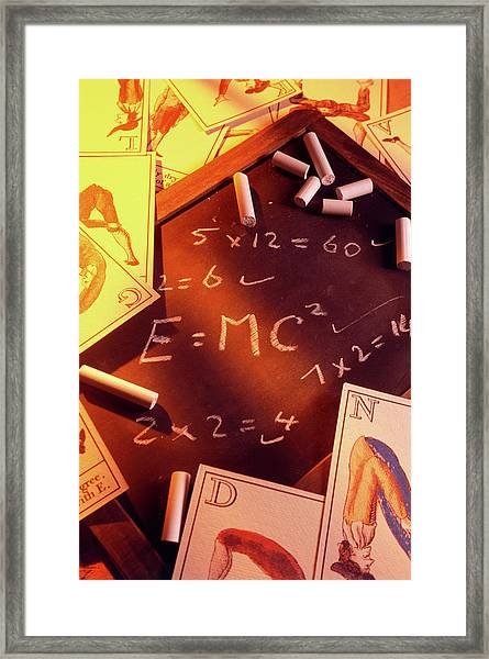 Test Answers Including E=mc2 On A Blackboard Framed Print by Tony Craddock/science Photo Library