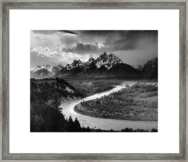 Tetons And The Snake River Framed Print