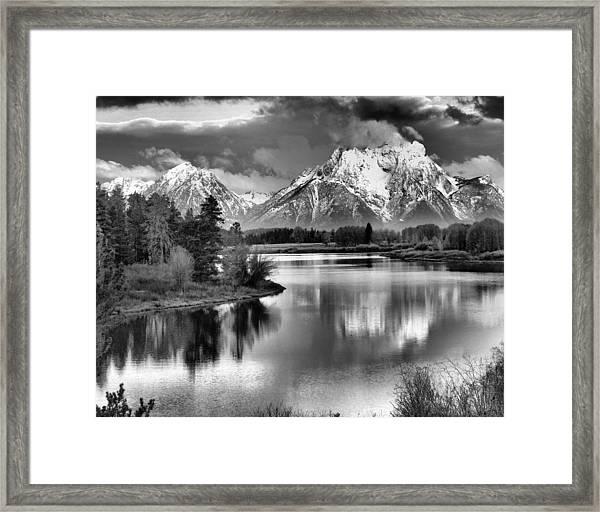 Tetons In Black And White Framed Print