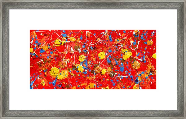 Tetraptych Cosmic Energy - Red Framed Print