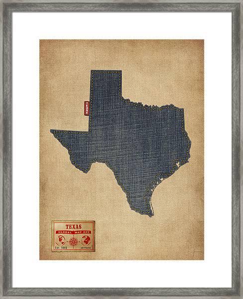 Texas Map Denim Jeans Style Framed Print