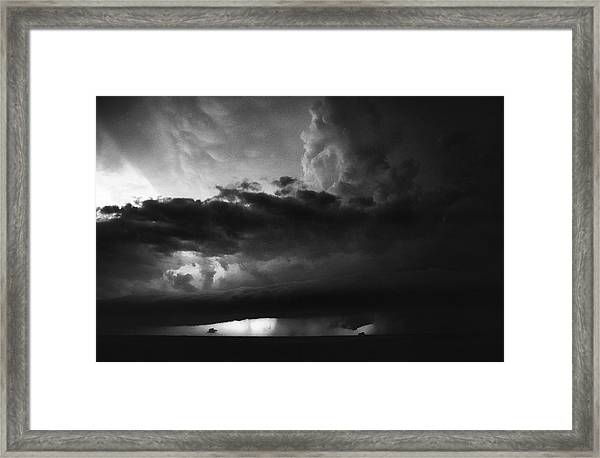 Texas Panhandle Supercell - Black And White Framed Print