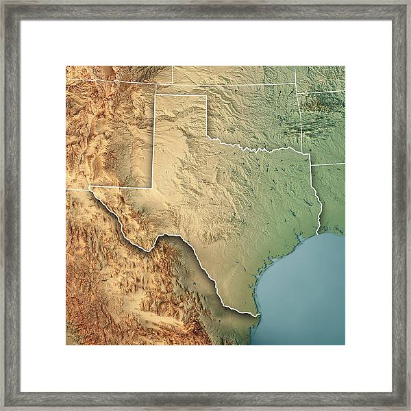 3d Map Of Texas.Texas State Usa 3d Render Topographic Map Border By Frankramspott