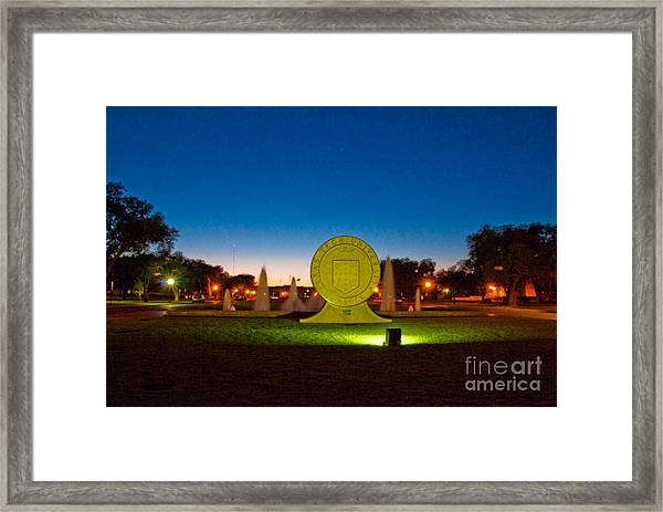 Framed Print featuring the photograph Texas Tech Seal At Night by Mae Wertz