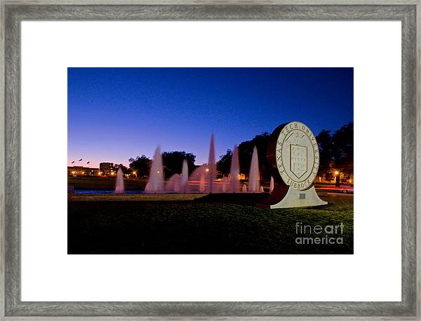 Framed Print featuring the photograph Texas Tech University Seal And Blue Sky by Mae Wertz