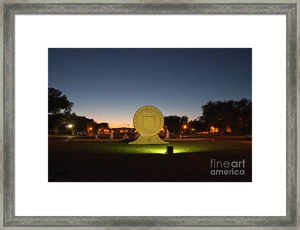 Framed Print featuring the photograph Texas Tech University Seal At Sundown Second Image by Mae Wertz
