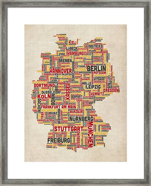 Text Map Of Germany Map Framed Print