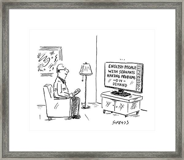 Text On The Tv: English People With Servants Framed Print