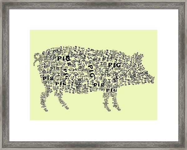 Text Pig Framed Print