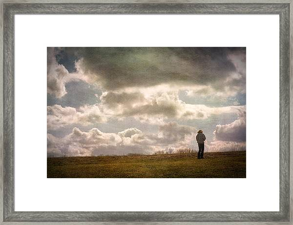Texting On The Edge Framed Print