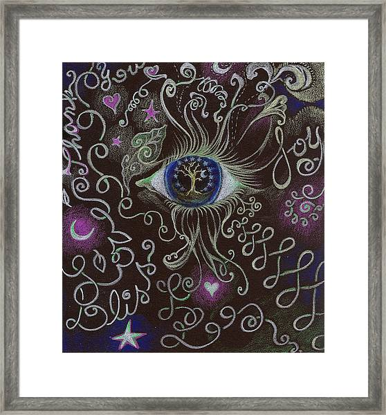 Thank You With Joy Swirlies Framed Print