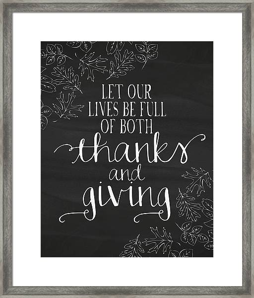 Thanks And Giving Chalkboard Framed Print