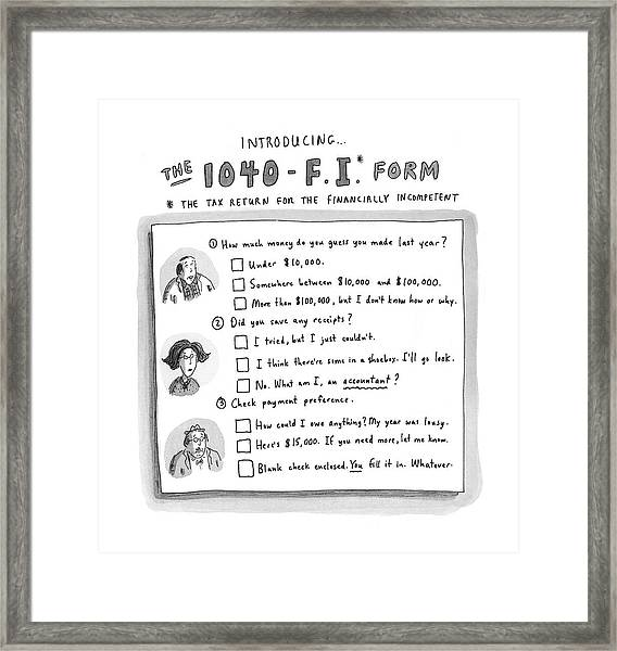 The 1040 F.i. Form Framed Print