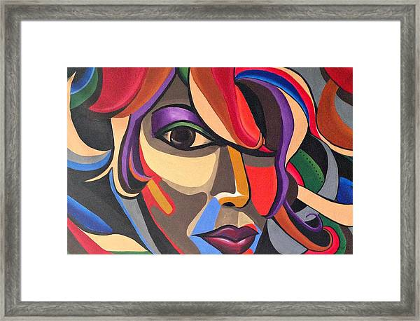 Abstract Woman Art, Abstract Face Art Acrylic Painting Framed Print