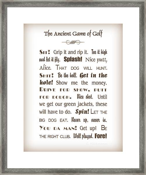 The Ancient Game Of Golf - Sepia Framed Print