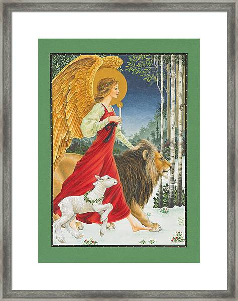 The Angel The Lion And The Lamb Framed Print
