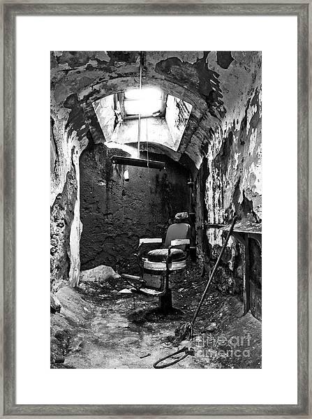 The Barber Chair - Bw Framed Print