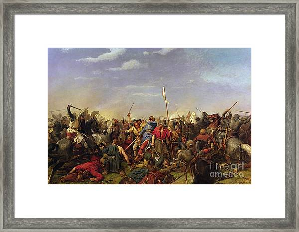 The Battle At Stamford Bridge Framed Print by Peder Nicolai Arbo