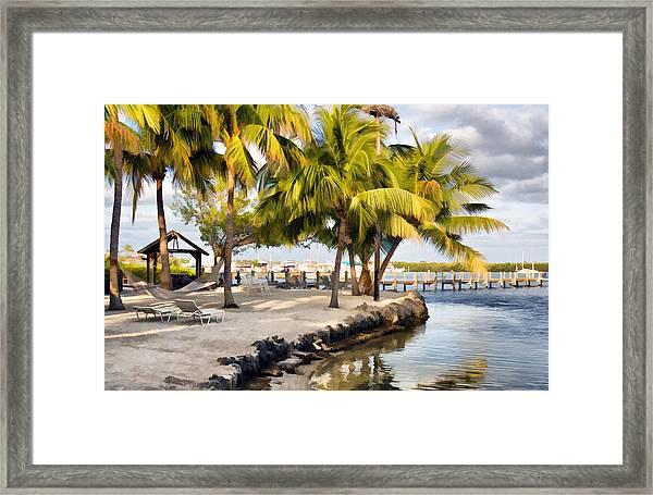 The Beach At Coconut Palm Inn Framed Print