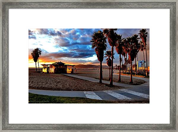 Framed Print featuring the digital art The Beach by Visual Artist Frank Bonilla