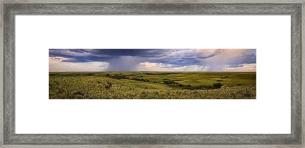 The Beginnings - Flint Hills Storm Pano Framed Print