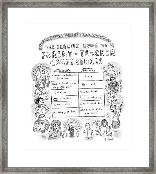 'the Berlitz Guide To Parent-teacher Conferences' Framed Print