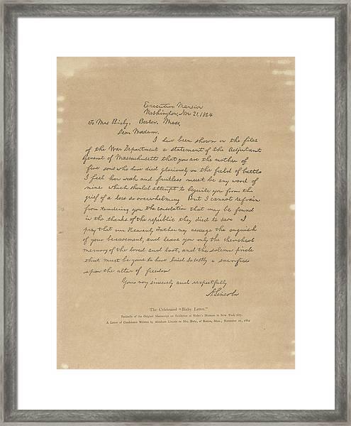 The Bixby Letter Framed Print