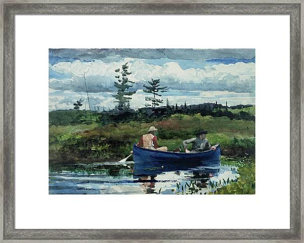 Framed Print featuring the painting The Blue Boat by Winslow Homer