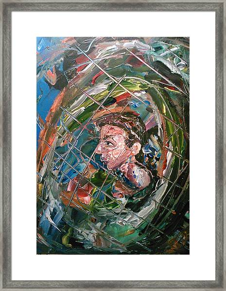 Framed Print featuring the painting The Boy In The Mirror by Ray Khalife
