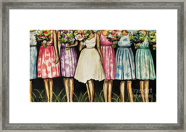 The Bride And Her Bridesmaids Framed Print
