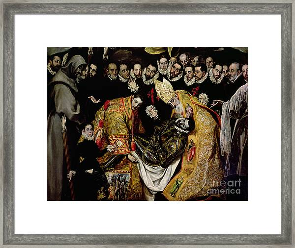The Burial Of Count Orgaz From A Legend Of 1323 Detail Of A Young Page Framed Print