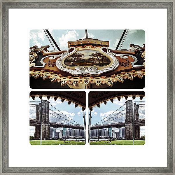 The Carousel And The Bridge Framed Print