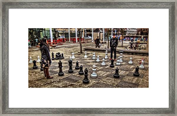 The Chess Match In Portland Framed Print