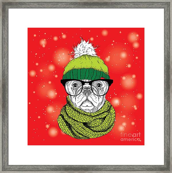 The Christmas Poster With The Image Dog Framed Print by Sunny Whale