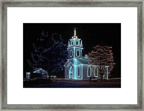 The Church - Alight At Night. Upper Canada Village Framed Print