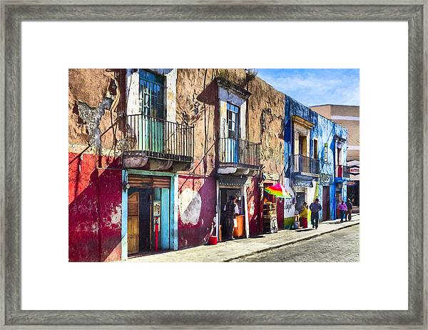 The Colorful Streets Of Puebla Mexico Framed Print