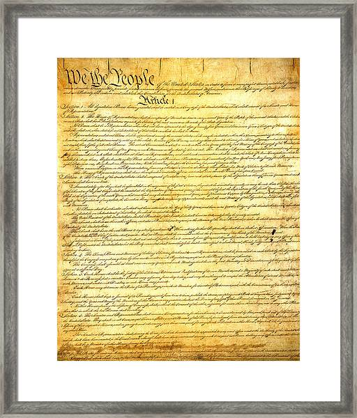 The Constitution Of The United States Of America Framed Print