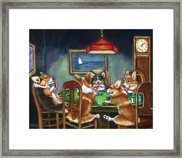 The Corgi Poker Game Framed Print