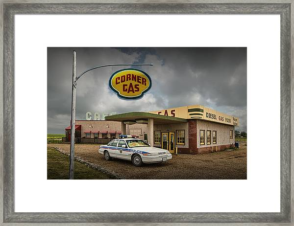 The Corner Gas Station From The Canadian Tv Sitcom Framed Print