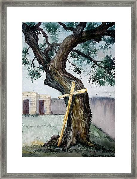 Da216 The Cross And The Tree By Daniel Adams Framed Print