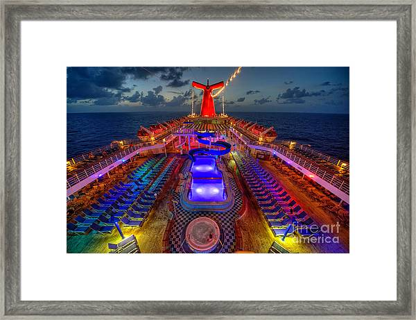 The Cruise Lights At Night Framed Print