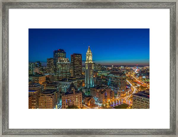The Customs House Rose Kennedy Greenway And The Zakim Bridge Framed Print