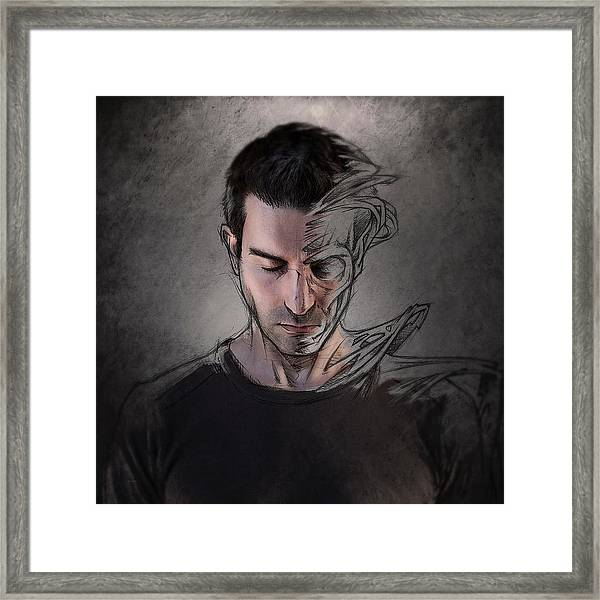 The Dark Side Of The Sketch Framed Print by Sebastien Del Grosso