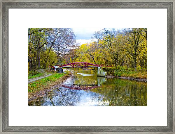 The Delaware Canal Near New Hope Pa In Autumn Framed Print