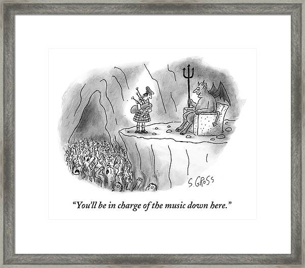 The Devil Speaks To A Bagpiper In Hell Framed Print